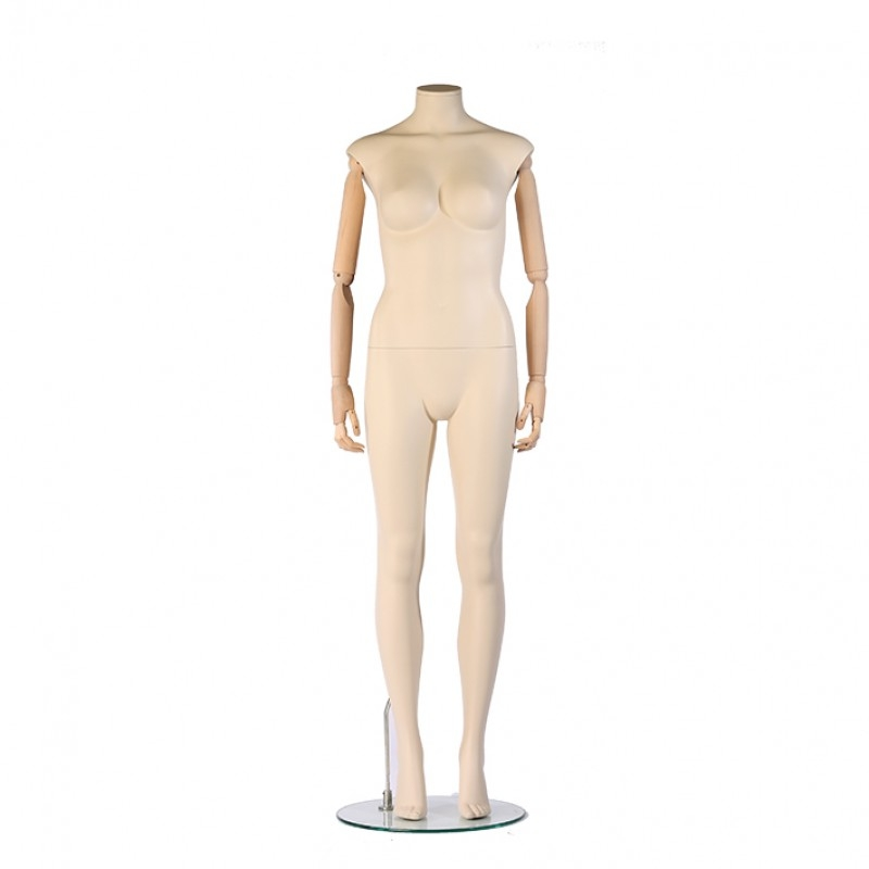FEMALE MANNEQUIN  – DARROL 700 SERIES - IVORY – FLEXIBLE  WOODEN ARMS – STRAIGHT POSE